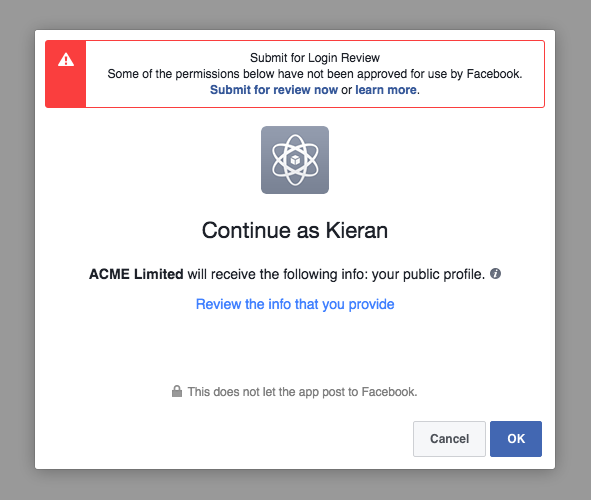 Facebook Access Token Step 1
