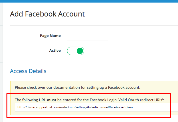SupportPal OAuth Redirect URI