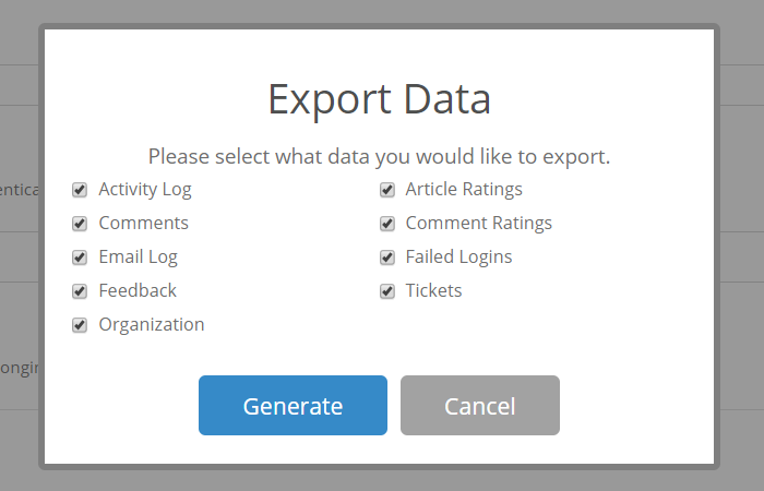 Export Data Options
