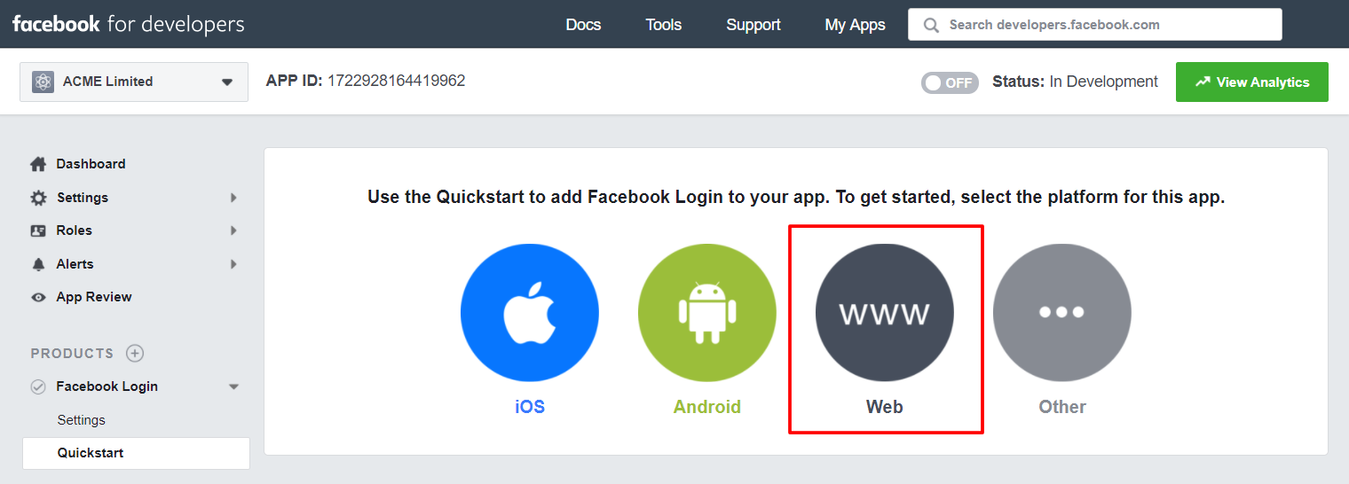 Facebook Login Platform (Web)