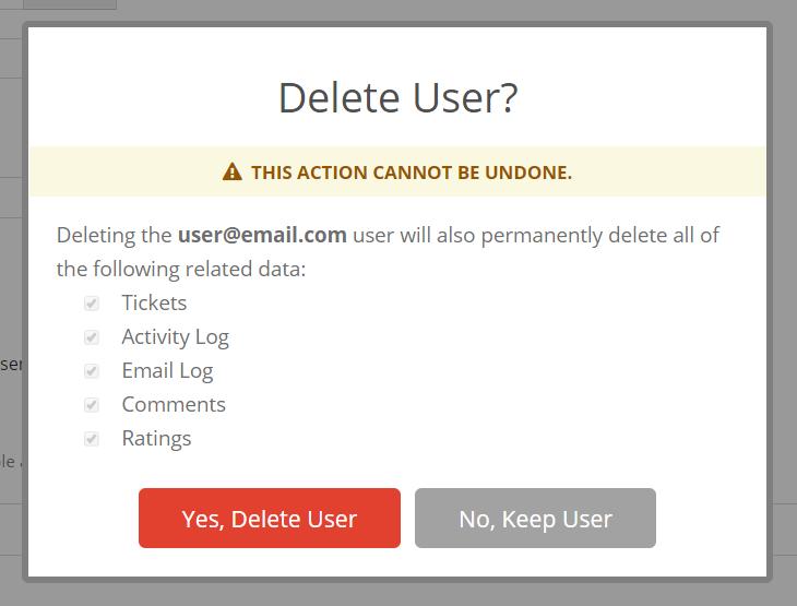 Delete User Warning