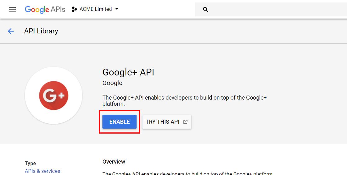 Activate Google+ API