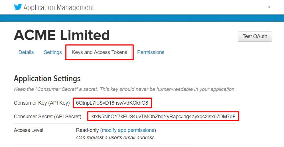 Twitter Consumer Key & Secret