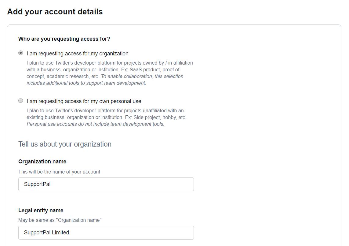 Twitter Developer Account Application User Profile
