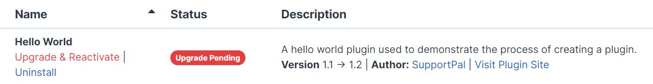 Plugin Upgrade Pending