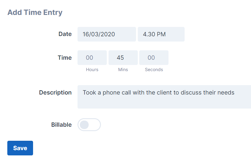 Add Time Entry