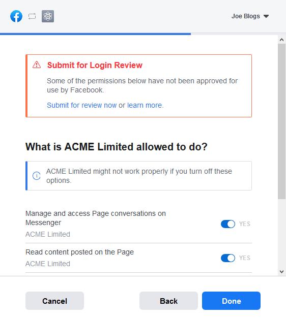 Facebook Access Token Step 3