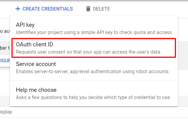 Click OAuth client ID