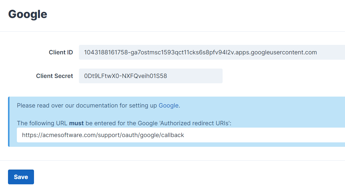 Google Third-Party Integration Settings
