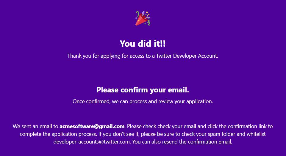 Twitter developer application completed