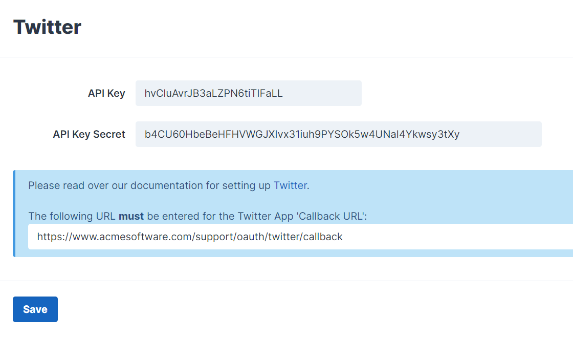 Twitter Third-Party Integration Settings