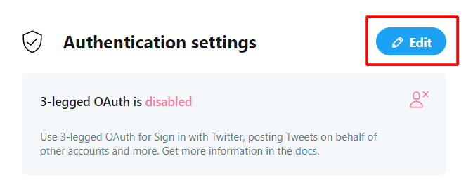 Twitter App Authentication Settings