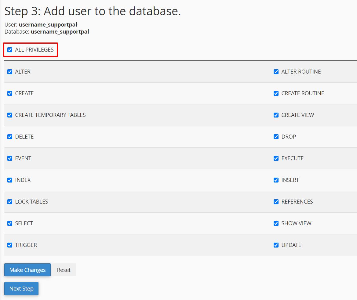 Associate MySQL User with Database