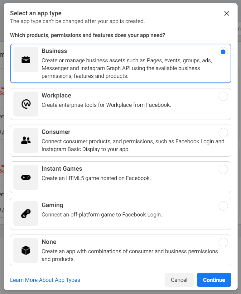 Facebook Create App - Step 1