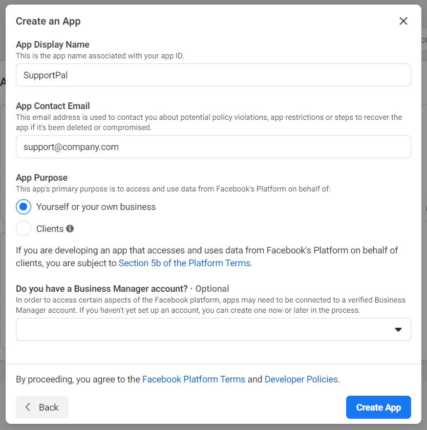 Facebook Create App - Step 2